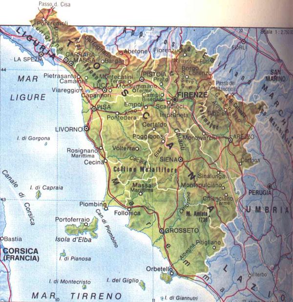 Toscana Fisica Cartina.Escursioni A Piedi In Toscana